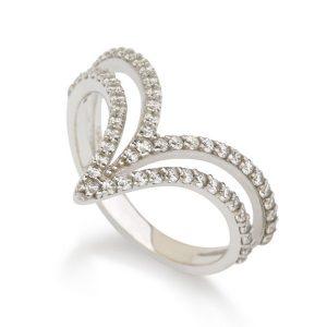 טבעת דאבל ויקטורי- זהב לבן 14K