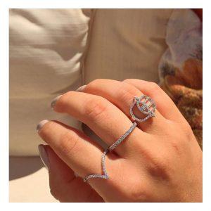טבעת חמסה Evil Eye - זהב לבן 14K