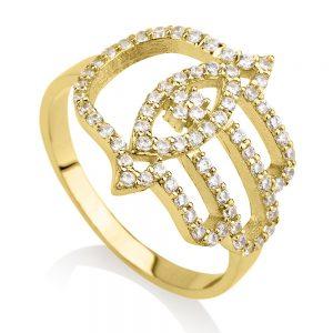 טבעת חמסה Evil Eye - זהב צהוב 14K