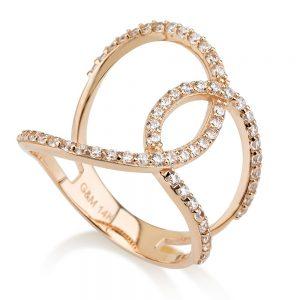 טבעת Yonce - זהב ורוד 14K