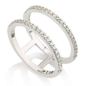 טבעת Emma - זהב לבן 14K