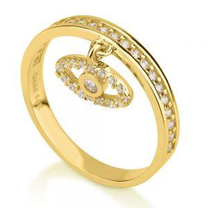 טבעת Evil Eye - זהב צהוב 14K