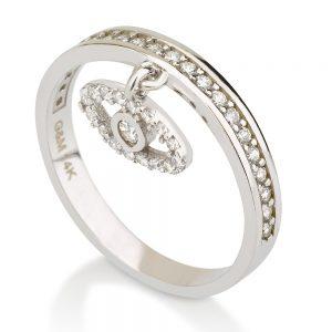 טבעת Evil Eye - זהב לבן 14K