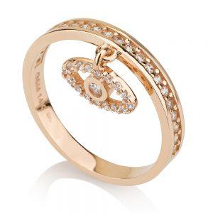 טבעת Evil Eye - זהב ורוד 14K