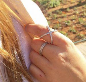 טבעת פקטור White Stones - זהב לבן 14K
