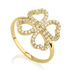טבעת Clover - זהב צהוב 14K