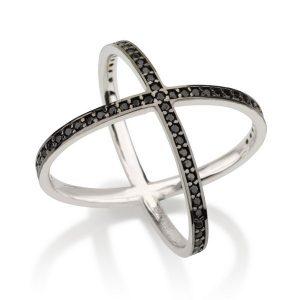 טבעת פקטור Black Stones - זהב לבן 14K