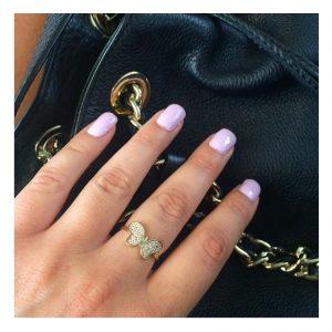 טבעת באטרפליי- זהב לבן 14K