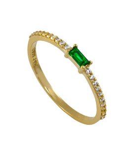 טבעת הוליוד אמרלד - זהב צהוב 14K