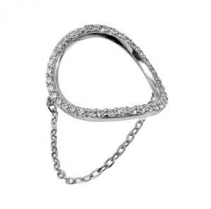 טבעת Circle - זהב לבן 14K
