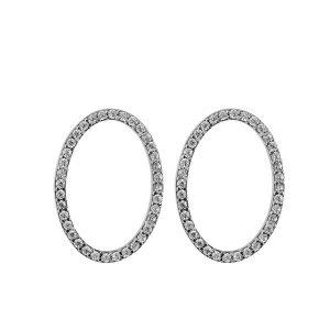 עגילי Circle אליפטיים - זהב לבן 14K