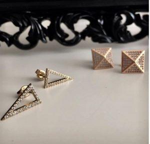 עגילי ספארקל אדג' - זהב ורוד 14K