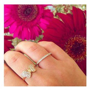 טבעת בייסיק ליין שיבוץ זירקונים - זהב צהוב 14K