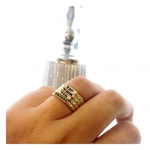 טבעת חריטת שם Gold Name - זהב 14K