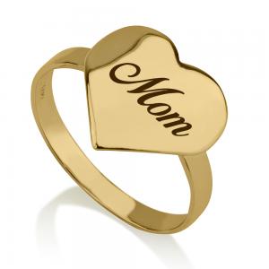 טבעת אמא Gold Heart - זהב 14K