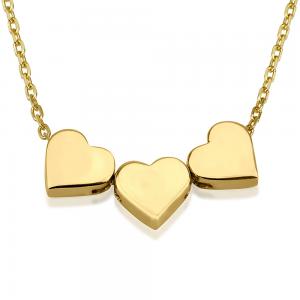 שרשרת חרוזי לבבות שלישיית תליונים - זהב 14K