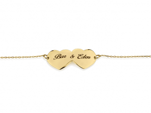 צמיד Double Gold Heart - זהב 14K