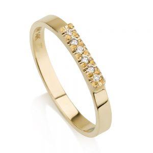 טבעת קלאסית בשיבוץ יהלומים- זהב 14K