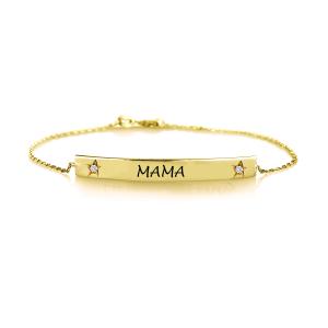 צמיד חריטה MAMA משובץ יהלומים - זהב 14K