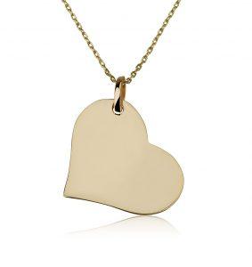 שרשרת פלטה Big Heart - זהב 14K
