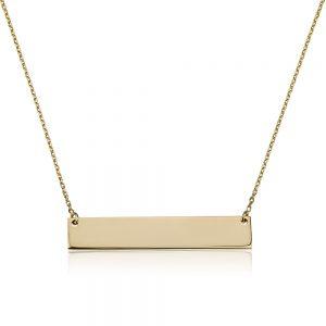 שרשרת פלטה מלבנית - זהב 14K