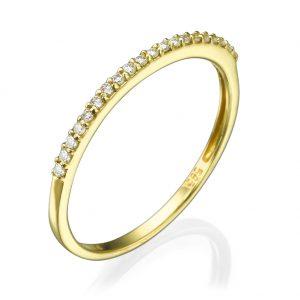 """טבעת """"Second"""" שיבוץ יהלומים - זהב 14K"""