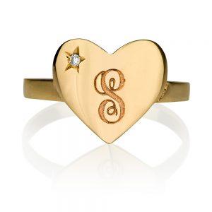 טבעת Gold Heart שיבוץ יהלום חריטת כוכב - זהב 14K
