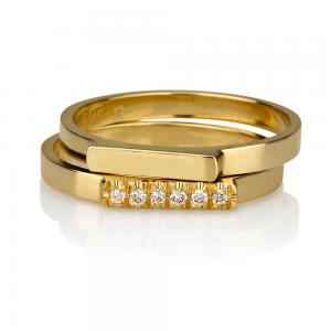 טבעת קלאסית + טבעת קלאסית בשיבוץ יהלומים - זהב 14K
