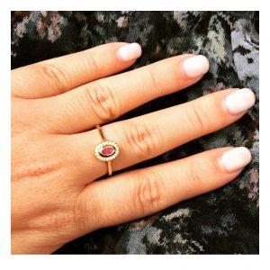 טבעת אלכסה פוקסיה - זהב צהוב 14K