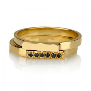טבעת קלאסית + טבעת קלאסית בשיבוץ יהלומים שחורים - זהב 14K