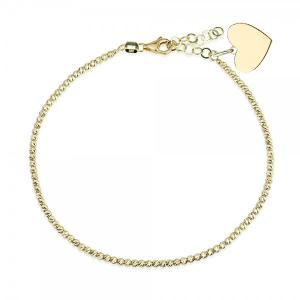צמיד Diamond Cut בתוספת תליון לב - זהב 14K