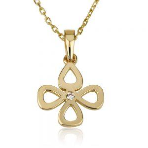 שרשרת תלתן המזל Girl's - זהב צהוב 14K