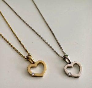 שרשרת לב שיבוץ צדדי Girl's - זהב לבן 14K