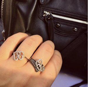 טבעת יהלומים עיטורי רויאל משתלבים - זהב 9K