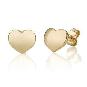 עגילי לב אנה Girl's - זהב צהוב 14K