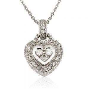 שרשרת יהלומים Heart Lock- Vintage