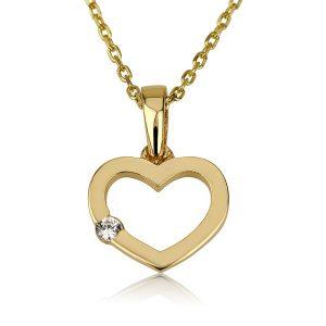 שרשרת לב שיבוץ צדדי Girl's - זהב צהוב 14K