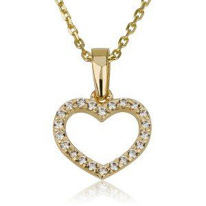 שרשרת לב חלול משובץ Girl's - זהב צהוב 14K