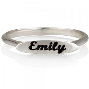 טבעת חריטה פלטה אליפטית - זהב 14K