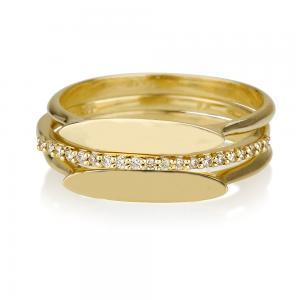 """זוג טבעות פלטה אליפטית + טבעת יהלומים """"Second"""" - זהב 14K"""
