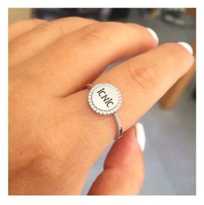 טבעת חותם עגול לחריטה- זהב צהוב 14K