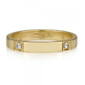 טבעת שיבוץ כפול יהלומים - זהב 14K