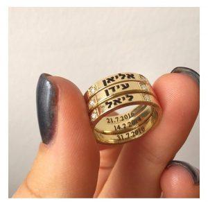 שלישית טבעות שיבוץ כפול זירקונים - זהב 14K