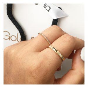טבעת חריטת שם שיבוץ כפול יהלומים- Gold Name זהב 14K
