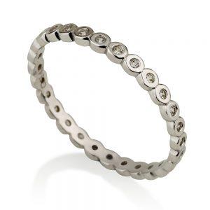 טבעת בייסיק סירקלס- זהב לבן 14K