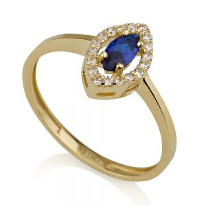 טבעת לואיז רויאל- זהב צהוב 14K
