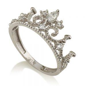 טבעת רויאל קראון- זהב לבן 14K