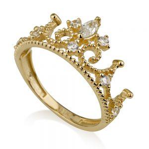 טבעת רויאל קראון- זהב צהוב 14K