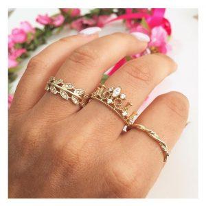 טבעת נוצה טרופית- זהב צהוב 14K