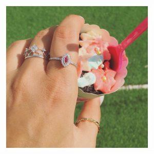 טבעת ג'וזפין רובי- זהב לבן 14K